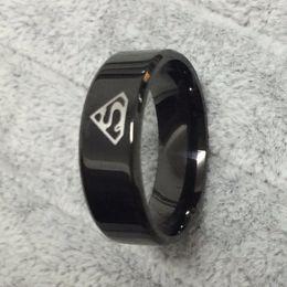 Wholesale Carbon Rings For Men - Cool boys girls 8mm Carbon steel black superman hero rings for men women high quality USA size 6-14