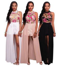 Wholesale Romper Maxi - 2017 new Women Maxi Dresses fashion brand Sleeveless Romper Vestidos Ladies Embroidery Sheer Top Zippers Back Chiffon dress