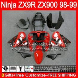 Kawasaki zx9r 1998 schwarz online-8Geschenke 23 Farben für KAWASAKI NINJA ZX 9 R ZX9R 98 99 00 01 900CC ROT SCHWARZ 48HM9 ZX 9R ZX900 ZX900C ZX-9R 1998 1999 2000 2001 Verkleidung kit