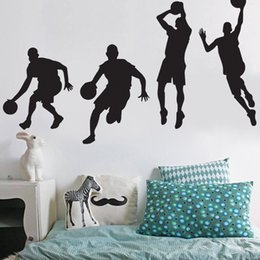Wholesale Motion Basketball - Wall Decal Basketball Player Dribble Dunk Stickers Motion Graph Paster Removable Decorative Sticker Bed Sports Room High Sales 12 9aw A R