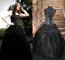 Wholesale Victorian Gowns - 2017 Newest Designer Gothic Black Wedding Dresses Sexy Backless Applique Beads Corset Queen Victorian Halloween Party Bridal Gowns Plus Size
