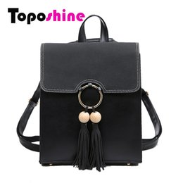 Wholesale Mini Pocket Notebook - Wholesale- Toposhine 2017 Fashion Porcel Tassel Square Girls Backpack Scrub PU Leather Women Backpack A4 Notebook Schoolbags 1618