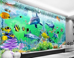 Wholesale Chinese Wedding Room Decoration - 3d room wallpaper custom photo non-woven mural ocean corals dolphin fish decoration painting 3d wall murals wallpaper for walls 3 d