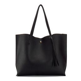 Wholesale Wholesale Designer Hand Bags - Wholesale- Artificial leather hand bag female tassel handbag woman new arrival rivet new big shoulder bag 2017 designer ladies totes