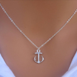 Wholesale simple cute necklace - Wholesale-Hot Fashion New Women Simple Design Cute Silver Anchor Pendant Necklace Jewelry P1254