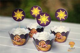 Wholesale Rapunzel Cartoon - Wholesale-Free Shipping 24Pcs lot Cartoon Rapunzel Cupcake Wrapper Birthday Party Decoration Favors With Cupcake Topper Insert Card