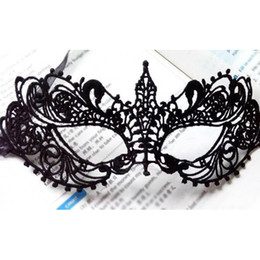 Wholesale Carnival Eye Masks - Wholesale- 2Pcs Halloween Sexy Lady Black Lace Mask Cutout Eye Mask For Masquerade Party Fancy Costume Venetian Carnival Masque Sexy Mask