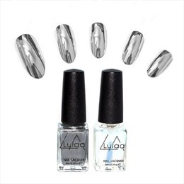 Wholesale Nail Art Polish Varnish Tips - Wholesale- 2pc lot 6ml Silver Mirror Effect Metal Nail Polish Varnish Top Coat Metallic Nails Art Tips nail polish set