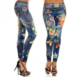 Wholesale Paints Female Jeans - Wholesale- Slimming Colorful floral women colorful painted floral imitated jeans legging sexy female midwaist jeans free size