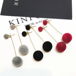 Wholesale Earrings Packing - 3 Pack Pom Pom Earrings Set with Gold Dangle Chain - Black, Red and Grey Earrings Set