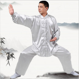 Wholesale chinese martial - New Chinese Kung Fu uniforms Long sleeve Tai Chi clothing South Korea Martial Arts Costume wushu Performance Suit 7Colors Outdoor Apparel