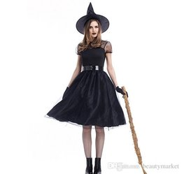 Wholesale Adult Halloween Costumes Xl - New Fashion Sexy Movie Costume Adult Women Halloween Witch Cosplay Black Mesh Fancy Game Dress Witch Costume PSXY1727