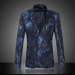 Wholesale Slim Fit Suits For Prom - Wholesale- Mens Royal Blue Flower Blazer Slim Fitted Prom Blazers Men Two Button Suit Jacket Stage Costumes For Singers Business Blazer Men