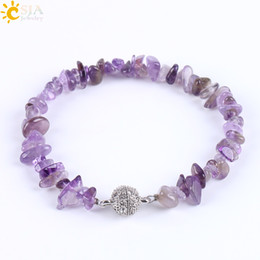 Wholesale Chipped Gemstone Bracelets - CSJA Fashion Brand Meditation Healing Crystal Gemstone Chips Beaded Bracelets Women Natural Stone Beach Jewelry Amethyst Snap Bracelet E591