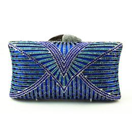 Saco de noite azul vintage on-line-Atacado Champagne Azul Saco de Embreagem Pequeno Tamanho de Cristal Bolsa de Embreagem com Alça Padrões de Bordados Saco de Noite Do Vintage Online