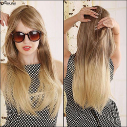 Wholesale Blonde Long Cosplay Wig Ponytail - 70cm Blonde Ombre Wig Long Straight Cheap Women Synthetic Wig Fashion Natural Hair Women's Brown Wigs For White Women Pelucas Cosplay women'