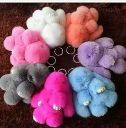 Wholesale Mink Car - Bunny Pendant Super Cute Mink Hair Fur Play Dead Rabbit Key Chain Car Package Rex Rabbits Hair Accessories Multicolor Select 14 5cy I1