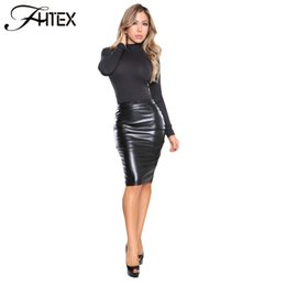 Wholesale Casual Knee Length Skirts - Autumn Winter Skirt Women High Waist PU Leather Skirt Knee Length Casual Slim Bodycon Pencil Skirt 17409