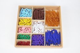 Wholesale Preschool Education Toys - Wholesale- Baby Toy Montessori Math 9 Colors Beads Bead Decanomial with Box Early Childhood Education Preschool Training Learning