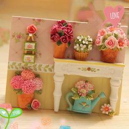 Wholesale Korea Cartoon Covers - fridge South Korea refrigerator Retro florist creative DIY 3D magnet pin flower magnet fridge andle cover