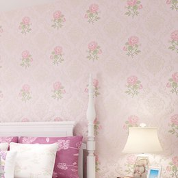 Wholesale Roll Striped Wallpaper - Wholesale- children's bedroom wallpaper flowers wallpapers roll wall paper 3d wallpaper roll mural papel de parede flocking for striped