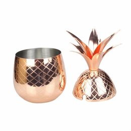 Wholesale Free Mules - 500ml Pineapple Cocktail Cup Moscow Mule 304 Stainless Steel Pineapple mug Metal Copper Cups Free Shipping