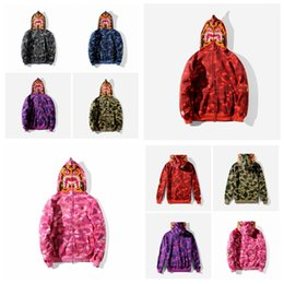 Wholesale Hip Hop Clothe S - Wholesale New Autumn 6 Colors Shark Print Red Camo Hoodie Brand Clothing Hip Hop Hoodies Men Embroidery Sweatshirt Jacket Tops Sizes S-2XL