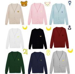 Gros- S - XXL Sailor Moon chandails femmes ours broderie uniforme JK cardigan à tricoter femme col V chandail étudiant solide livraison gratuite ? partir de fabricateur