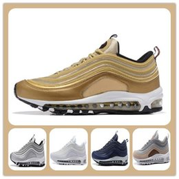 Wholesale Bullet Boxes - Max 97 Og Undftd Undefeated Triple white OG Metallic Gold Silver Bullet Running Shoes with Box Men and Women Casual Shoes Free shippment
