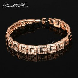 Wholesale Vintage Gold Jewelry Box - Classical CZ Diamond Party Charm Bracelets & Bangles 18K Real Gold Plated Fashion Vintage Jewelry For Women Engagement Wedding DFH018