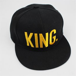 Wholesale finish letter - KING QUEEN Gold Letters Snapback Baseball Caps Couple Matching Fine Finished Embroideried Hat
