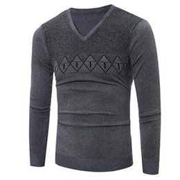 Wholesale Mens Wholesale Sweater - Wholesale- 2016 New Autumn Fashion Brand Casual Sweater V-Neck Striped Slim Fit Knitting Mens Sweaters And Pullovers Men Pullover XXXL