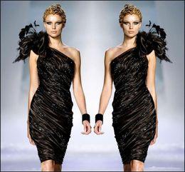Argentina Zuhair Murad poco negro formal vestidos de cóctel 2017 una flor de hombro plumas Prom Party vestido vestido de volantes con cuentas Sexy Club barato Suministro