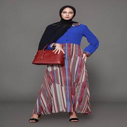 Wholesale Cheap Wrap Dresses For Women - 2018 New Arrival Muslim Casual Dresses Long Sleeves Plus Size Print Oversize Loose Wrap Dress Ladies Vestidos Cheap Dress for Women FS2500
