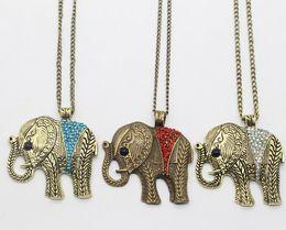 Wholesale Long Gold Elephant Fashion Necklace - Fashion New Style Women Jewelry Cute Elephant Pendant Rhinestone Opal Sweater Long Chain Alloy Necklace - Free Shipping + Free Gift