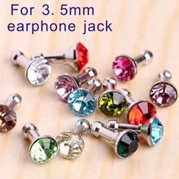 Wholesale Diamond Earphone Headphones - Universal 3.5mm Crystal Diamond Rhinestone Anti Dust Plug Dustproof Earphone Jack plug Headphone Plugs Stopper Cap Gadgets