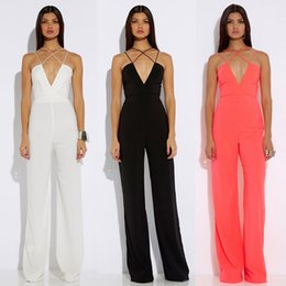 Wholesale Club Jumpsuits Women - Fashion Wide Leg Jumpsuit For Woman Sexy V-Neck Strappy Club Party Jumpsuits Casual Long Playsuit Pants Summer Sexy Outfit HZ031