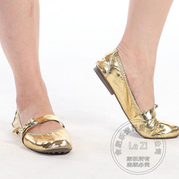 Wholesale Gold Jane Shoes - Sexy Pu 41 Size Mary Jane Shoes Metal Color Leather Shoes Women Soft Leather Plain Shoes Women Ballerina Dance Solid
