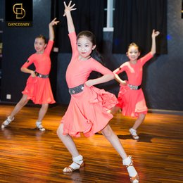 Wholesale Dress Performance Rumba - NEW children's Latin Dance Dress Girls Sweet Rumba Tango Sasa Samba ballroom performance suit competition Latin group Costume 120-170CM 005