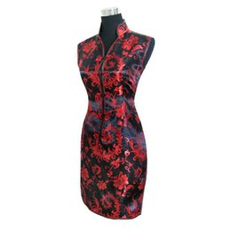 Wholesale Sleeveless Cheongsam - Wholesale- Sexy Black red Chinese tradition Ladies Cheongsam Qipao dress Wedding Mini Club Dress Size:S M L XL XXL XXXL