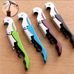 Wholesale Bottle Handling - 12*2cm Professional Folded Wine Bottle Cap Opener Corkscrews Stainless Steel Metal With Plastic Handle High Quality