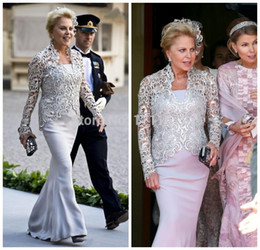 Wholesale Strapless Mother Bride Dress - Sexy Vestido De Madrinha Romantic Women Formal Dress Mermaid Lace Long Sleeve Mother of the Bride Dresses Evening Gowns With Sleeves 2017