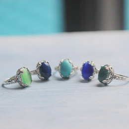 Wholesale Blue Copper Turquoise Ring - Victorian style lapis lazuli stone ring healing stone ring,filigree turquoise ring,Oval blue Cat Eye Stone ring