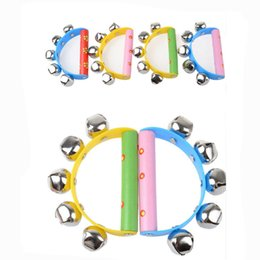 Wholesale Wholesale Musical Instrument Prices - Wholesale- New Infant Kids Baby Rainbow Musical Instrument Toy Wooden Jingle Ring Handbell Rattle Bebek Oyuncak Lowest Price