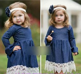 Wholesale Wholesale Designer Children Clothes - 2016 girls dress petal dress pretty flower girl dress Autumn Denim Long Sleeve Ruffle Children Princess Dress kids designer clothing 7403
