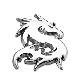Wholesale Metal Dragon Car - Dragon Loong 100% 3D Metal Car Auto Motorcycle Logo Totem Emblem Badge Sticker Silver Gold Black DIY NEW 3 Colors Car-Styling