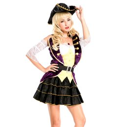 Wholesale Sexy Pirate Outfits - Cosplay Sexy Pirate Costumes For Women Pirate Maiden Costume Six Pieces Outfits Off Shoulder Ruffled Peasant Dresses
