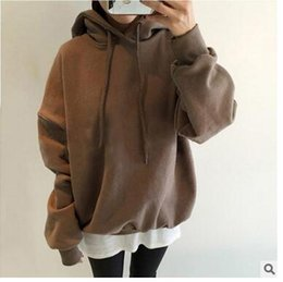 Wholesale Sweater Hoodies For Women - wholesale fall new Fashion Hoodie Female sweater Solid color cotton Loose women sweater for girls free shipping
