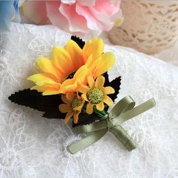 Wholesale Silk Flower Corsage Brooches - 11cm Groom Groomsman Boutonniere Sunflower Corsage Party Wedding Decoration Flower Silk Flowers Brooch Pin Hot Sale