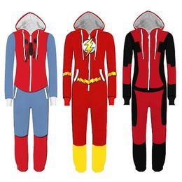 Wholesale Man S Pyjamas - Superhero Cosplay Costume Spiderman Homecoming Pajamas Flash Man Jumpsuit Pyjamas Sleepwear Halloween Party Outfit Rompers